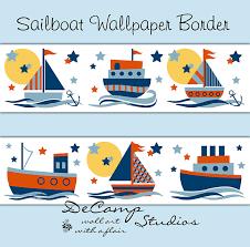 sailboat wallpaper wall border decals for baby boy nautical boat