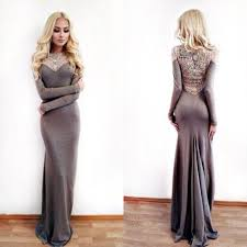 Prom Dresses Gray Prom Dress Modest Prom Gown Mermaid Evening