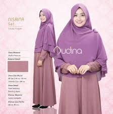 nisrina set ori by audina gamis jilbab dusty purple pusat