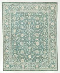 Green Persian Rug Hand Woven Silk Area Rug With Borders Blue And White 8x9 1