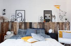 reclaimed wood headboard and shelf diy apartment therapy