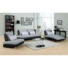 Fabric And Leather Sofas Furniture Of America Cole 3 Piece Fabric And Faux Leather Sofa Set