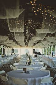 Canopy String Lights by Post Family Farm Barn Reception With Canopy Linens And String Lights