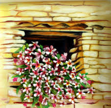 window clay flowers 3d oil painting home decor original