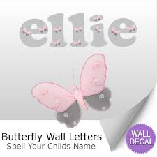 name wall letters alphabet stickers initial decals girls decor butterfly name wall letter stickers