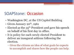 Occasion Soapstone Ppt John F Kennedy U0027s Inaugural Address Powerpoint Presentation