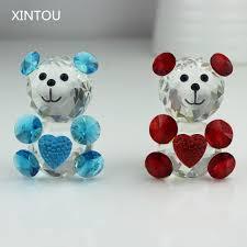 xintou glass animals teddy figurine miniature desk