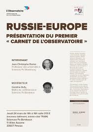 chambre de commerce franco russe russie europe présentation du premier carnet de l observatoire le