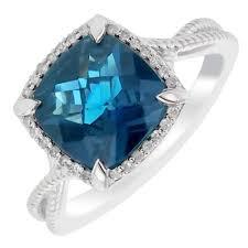 Diamond Cushion Cut Ring Colore Oro Cushion Cut London Blue Topaz Ring With Diamond Halo In