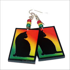 reggae earrings cat rasta reggae earrings decoupage rectangle funy jewelry
