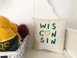 wisconsin pillow home decor midwest dairy state gift for