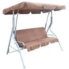 Outdoor Canopy Chair Foxhunter Brown Garden Metal Swing Hammock 3 Seater Chair Bench