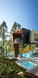 prefabricated house of rusted steel on the gulf islands