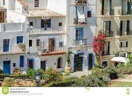 dalt vila of ibiza town with old buildings on carrer sa carrossa