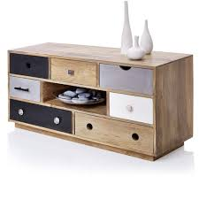 multi colour drawers wooden tv cabinet with dvd storage in natural