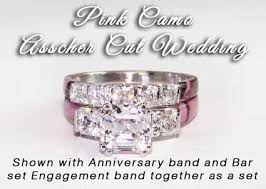 camo wedding band sets camo anniversary ring asscher wedding set