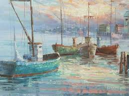 Nautical Painting A Simpson Oil Painting Fishing Boats Pier Harbor Nautical Signed