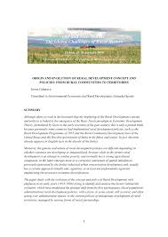 United States Department Of Agriculture Rural Development Origin And Evolution Of Rural Development Concept And Policies