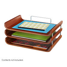 Desk Organizer Tray by Safco Bamboo Triple Paper Tray