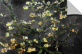 artwall almond blossom interpretation in dahilia black by vincent almond blossom interpretation in dahilia black by vincent van gogh art appeelz removable wall mural
