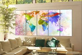 office decor world map wall art print on canvas office decor world