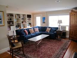 Living Room Colors With Brown Furniture I Love This Blue Sofa With The Red Persian Rug Living Room Done
