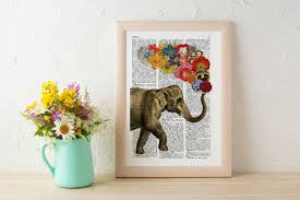 elephant with flowers wall art wall decor art prints elephant