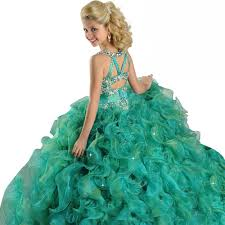 aliexpress com buy green spaghetti beads ball gown kids prom