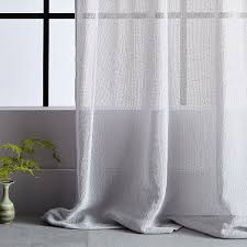 solid open weave sheer curtains set of 2 frost gray west elm