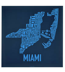 Map Of Miami Neighborhoods by Miami Neighborhoods Map Posters U0026 Screen Prints Modern Miami Decor