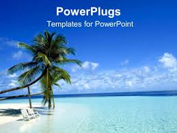 powerpoint template two palm trees on a white beach with chairs