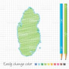 Doha Qatar Map Qatar Map Sketch With Color Pencils On Grid Paper Stock Vector Art