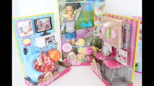 Barbie Dolls House Furniture A Lot Of Goodies For Barbie Doll House Unboxing Furniture Dogs