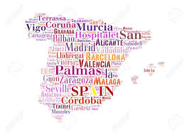 Zaragoza Spain Map by Spain Map And Words Cloud With Larger Cities Stock Photo Picture