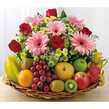 fruit and flowers flowers and 3 kgs mix fruit basket myflowergift