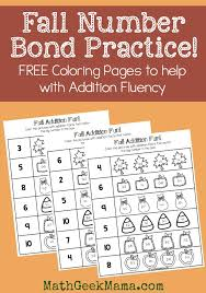 fall number bond practice free printables