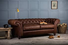 Furniture Tufted Full Grain Leather Sofa With Wooden Flooring And - Full leather sofas