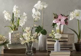 faux phalaenopsis orchid floral arrangements in marble vase