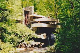 architecture elegant falling waters frank lloyd wright with white