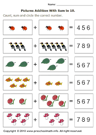 pictures on math worksheets for preschoolers easy worksheet ideas