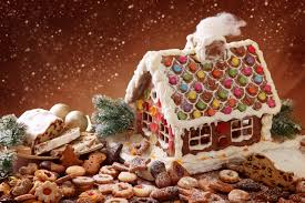 gingerbread house and christmas cakes