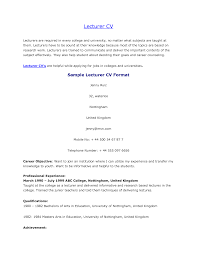 Sample Resume Format For Assistant Professor In Engineering College by Lecturer Resume Samples Resume Resume Of Lecturer Sample