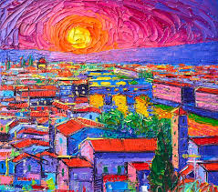 florence painting vibrant florence sunset modern impressionism abstract city knife oil painting by ana maria