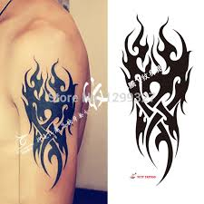 online shop temporary tattoo black fire flame tattoo sticker arm