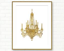 Chandelier Room Decor Gold Chandelier Etsy