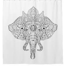 Elephant Curtains Uk Mandala Elephant Shower Curtains Zazzle Co Uk