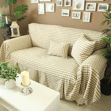 cotton sofa slipcovers diaidi ligth coffee khaki small grid sofa cover set rustic