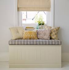 Small Storage Bench Furniture White Stained Wood Storage Bench With Grey Striped Seat