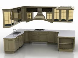 u shaped kitchen design 3d model 3ds max files free download