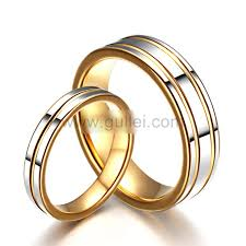 wedding rings for couples 19kgp tungsten engravable korean ring set for two